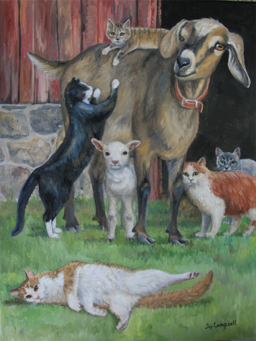 """Just a Kitty Magnet"" original fine art by Joy Campbell"