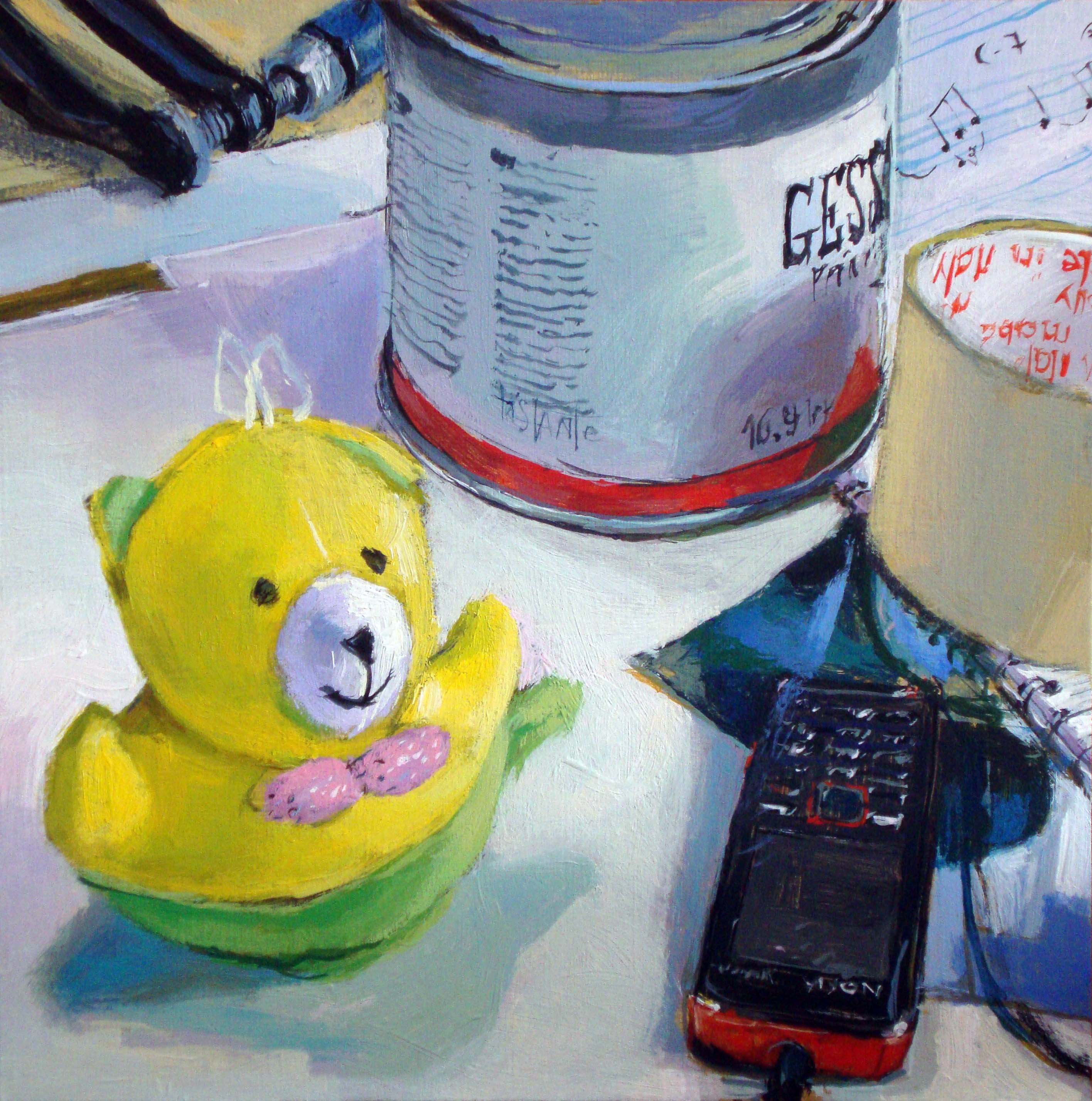 """Gesso, sheets and the yellow bear"" original fine art by Víctor Tristante"