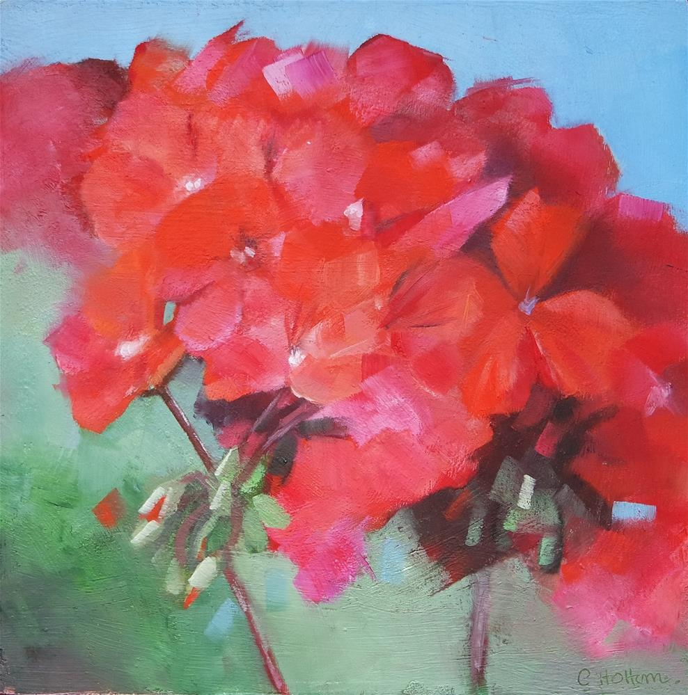 """Bright Geranium"" original fine art by Cathy Holtom"
