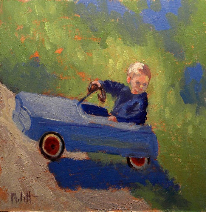 """Happy Father's Day Little Boy with Antique Car"" original fine art by Heidi Malott"