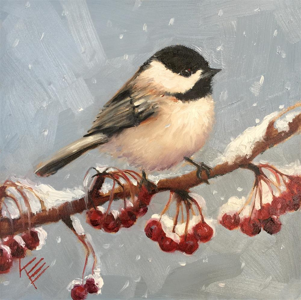 """Black Capped Chickadee & Berries"" original fine art by Krista Eaton"
