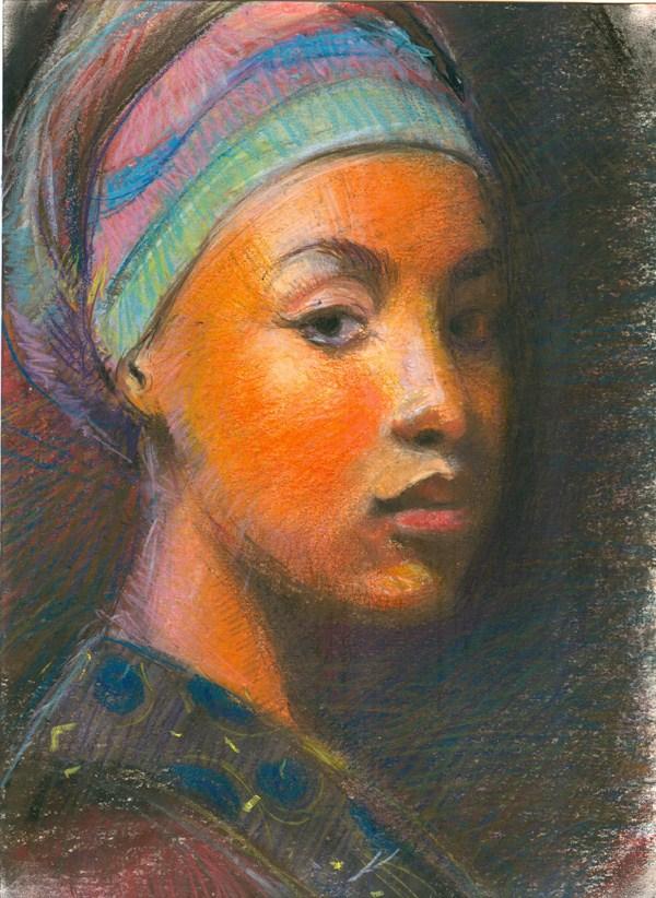 """The African Headgear III"" original fine art by Adebanji Alade"