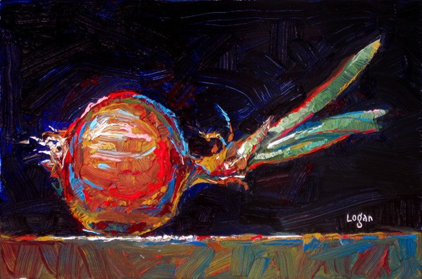 """Onion Sprouted"" original fine art by Raymond Logan"