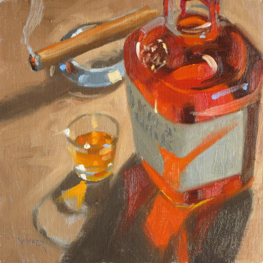 """Maker's and a cigar  8 x 8  oil"" original fine art by Claudia Hammer"