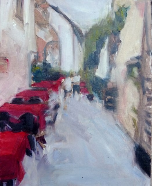 """Kaffeehaus in Split / cafe in split"" original fine art by Mila Plaickner"