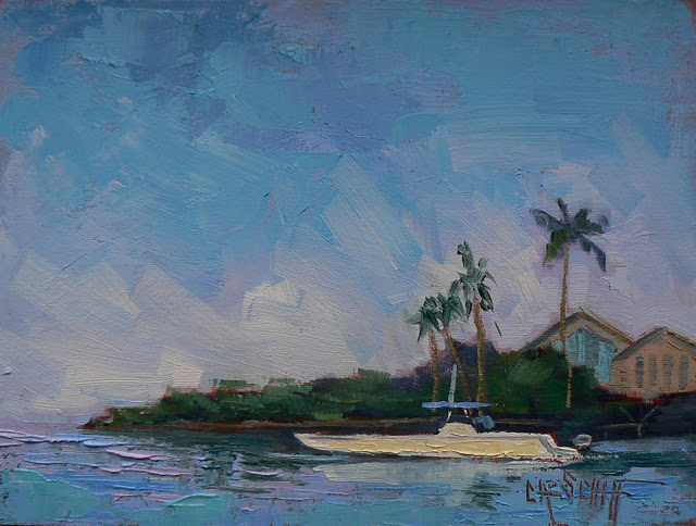 """Landscape, Tropical, Boat, Palette Knife, Joy Ride"" original fine art by Carol Schiff"
