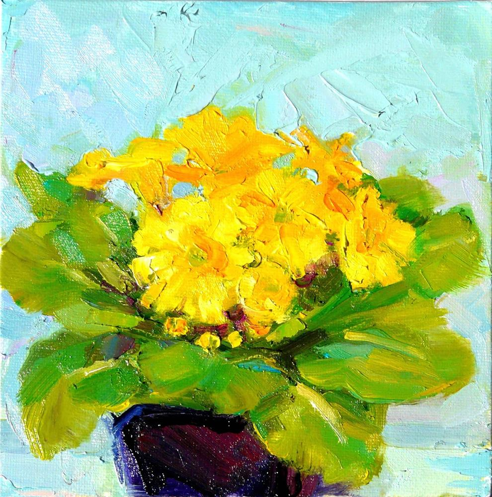 """Primrose in Yellow,still life,oil on canvas,6x6,price$200"" original fine art by Joy Olney"