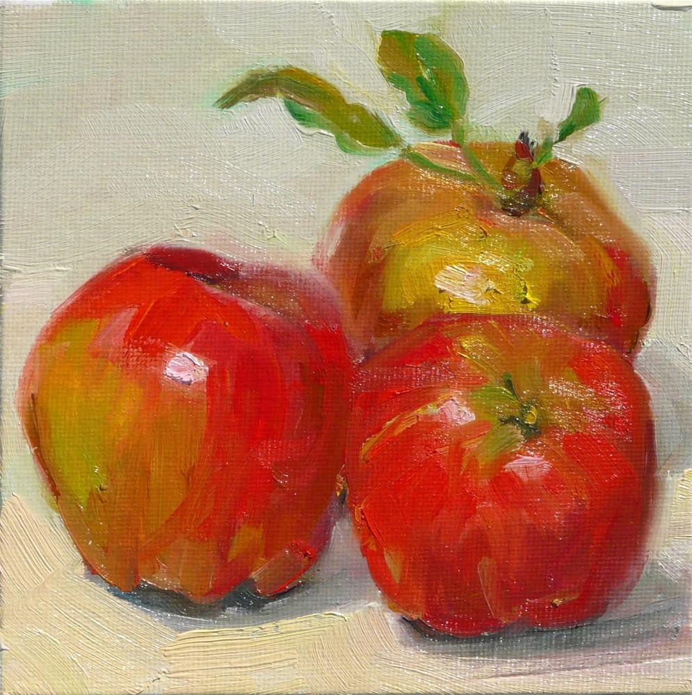 """Just Picked Apples,still life,oil on canvas,6x6,price$200"" original fine art by Joy Olney"