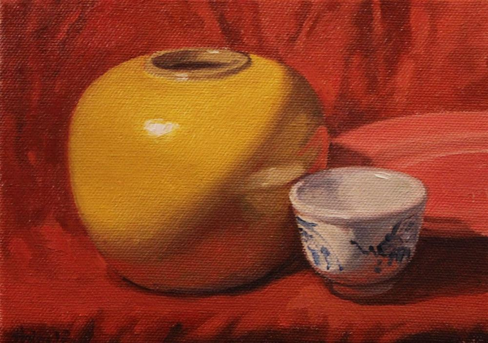 """The Yellow Vase, and Family"" original fine art by Ski Holm"
