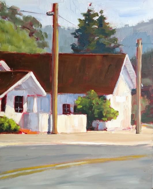 """West Marin Buildings"" original fine art by Deborah Newman"