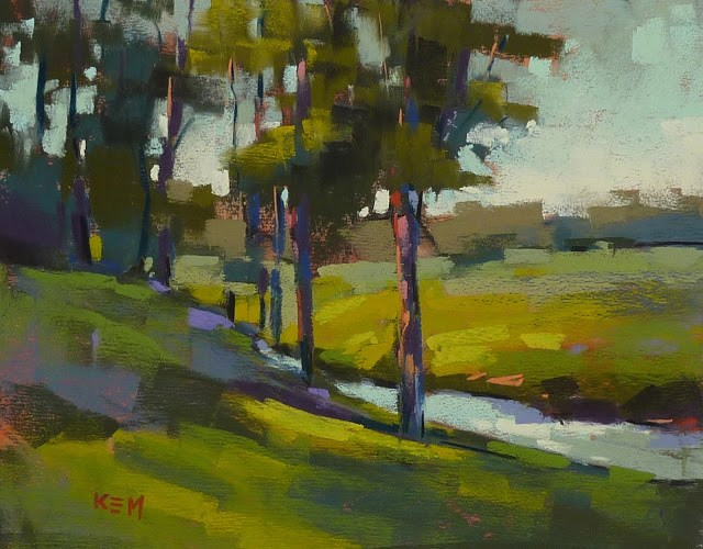 """Dealing with the Greens of Summer ...Pastel Demo"" original fine art by Karen Margulis"