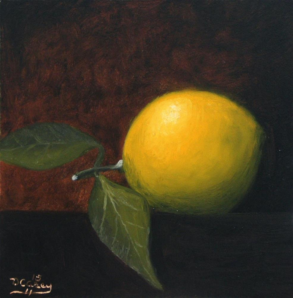 """30-in-30 Challenge – Day 03 – Lemon with Leaves"" original fine art by Dave Casey"