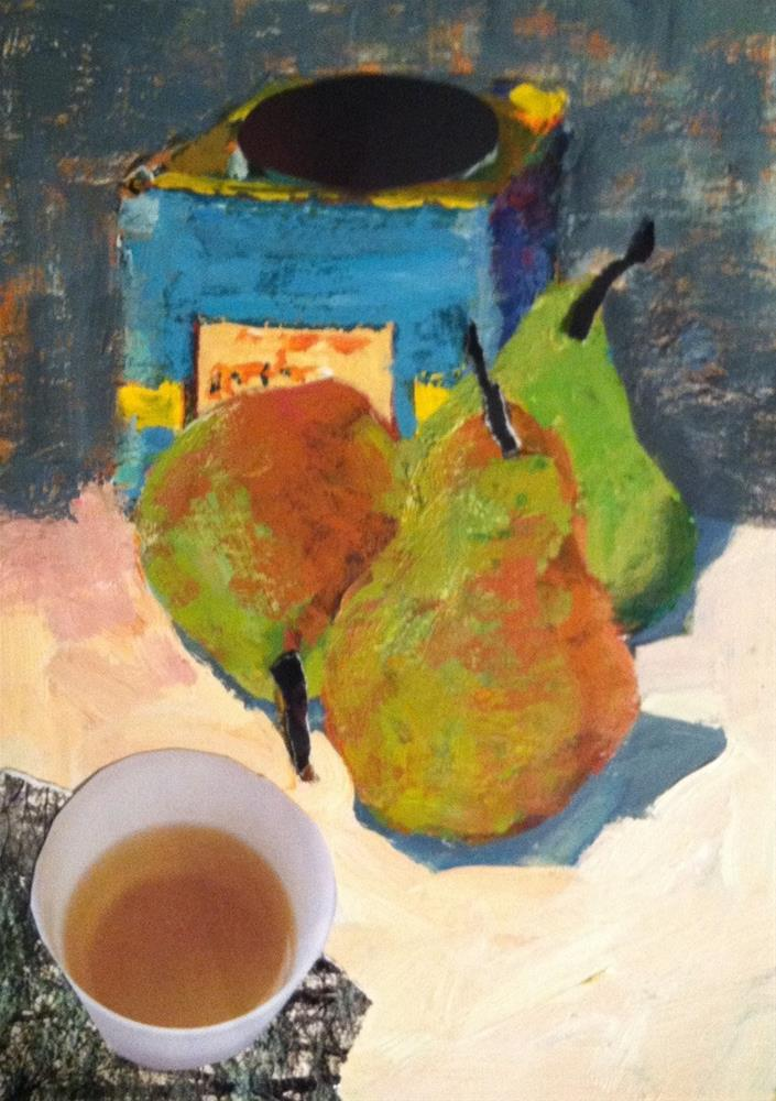 """Still Life with Pears and Tea"" original fine art by Christine Parker"