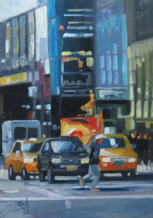 """No 763 Running Across 5th"" original fine art by Robin J Mitchell"