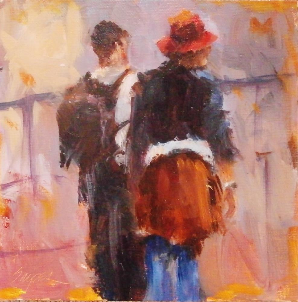 """Waiting in Line"" original fine art by Connie Snipes"