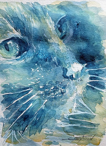 """A Cat"" original fine art by Gabriella DeLamater"