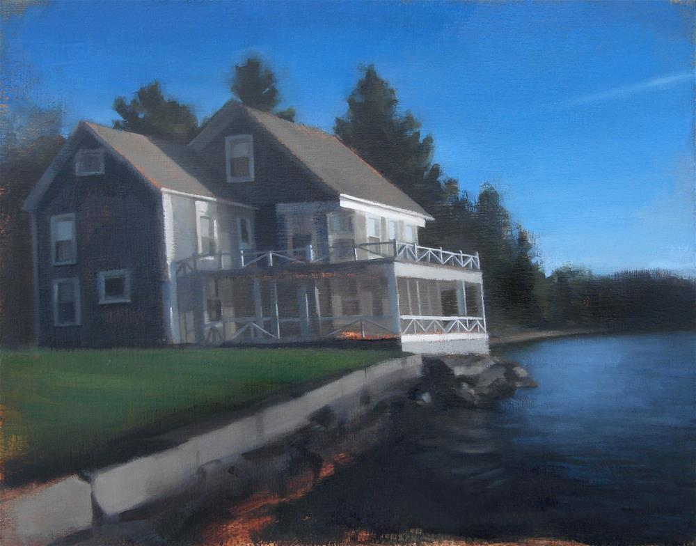 """Commission no.3 (Swan Point House / Lake Monomonoc, NH)"" original fine art by Michael William"