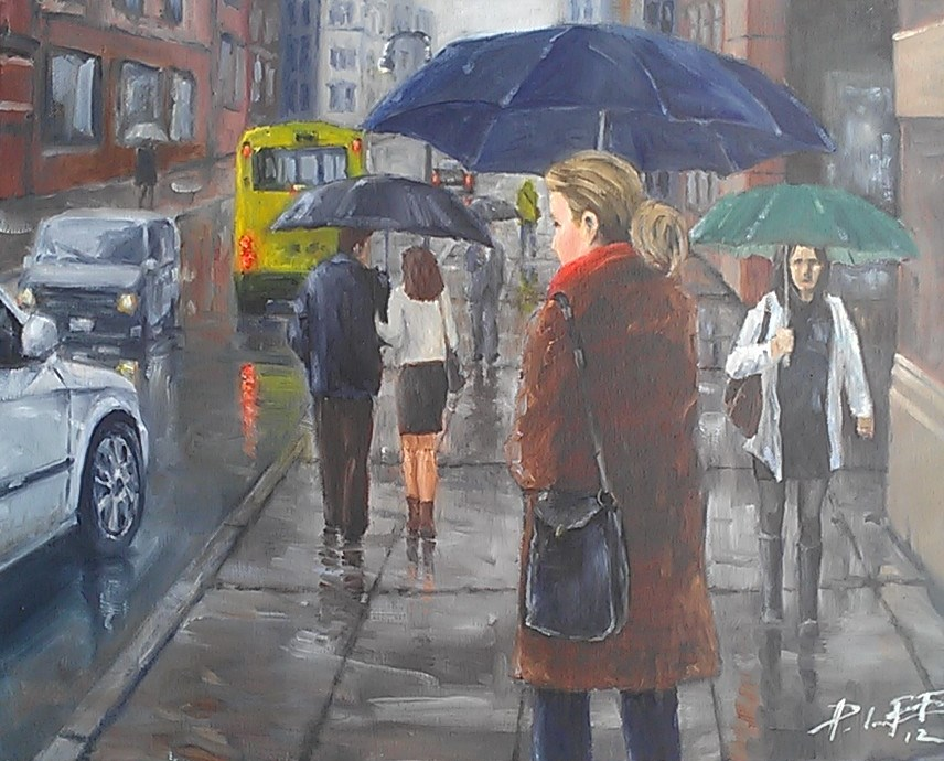 """Rainy Day"" original fine art by Peter Lee"