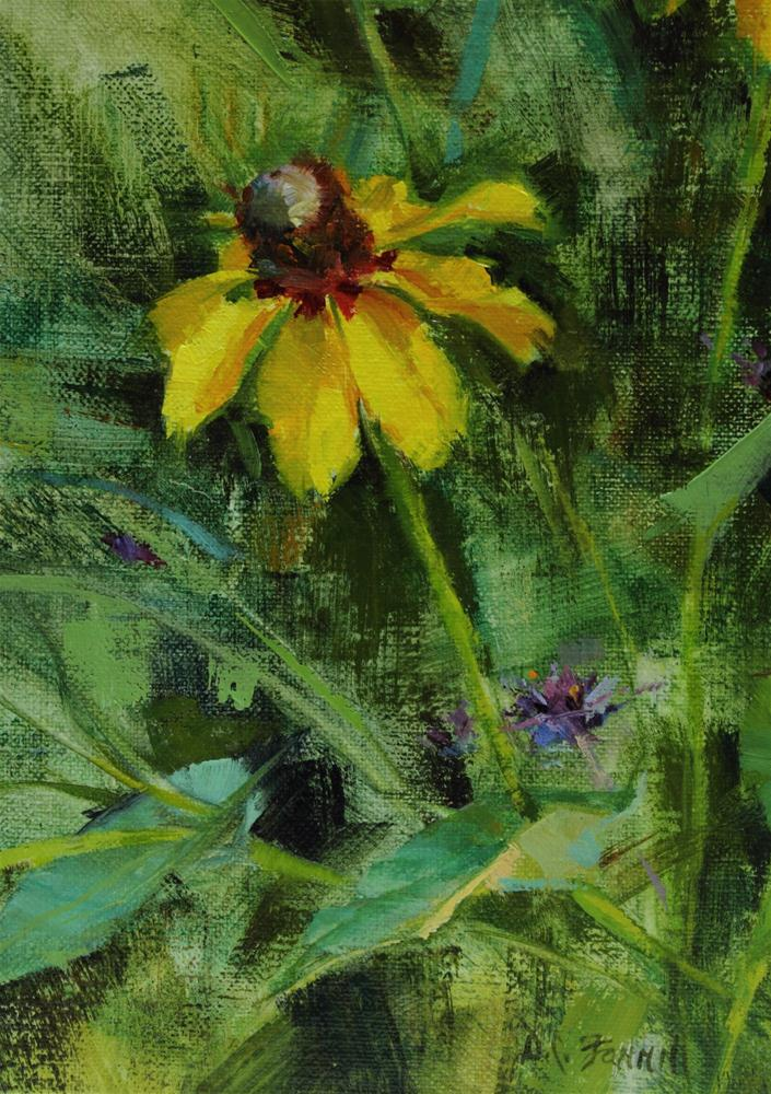 """Yellow Coneflower"" original fine art by Donna C Farrell"