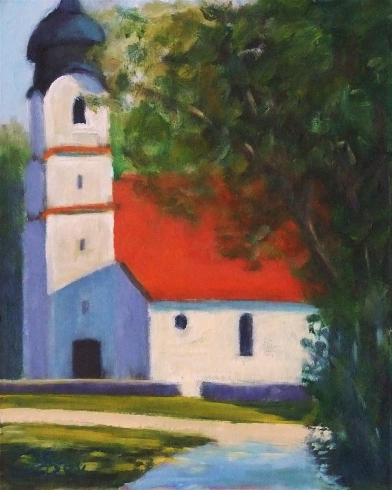 """By the old church"" original fine art by Michael Sason"