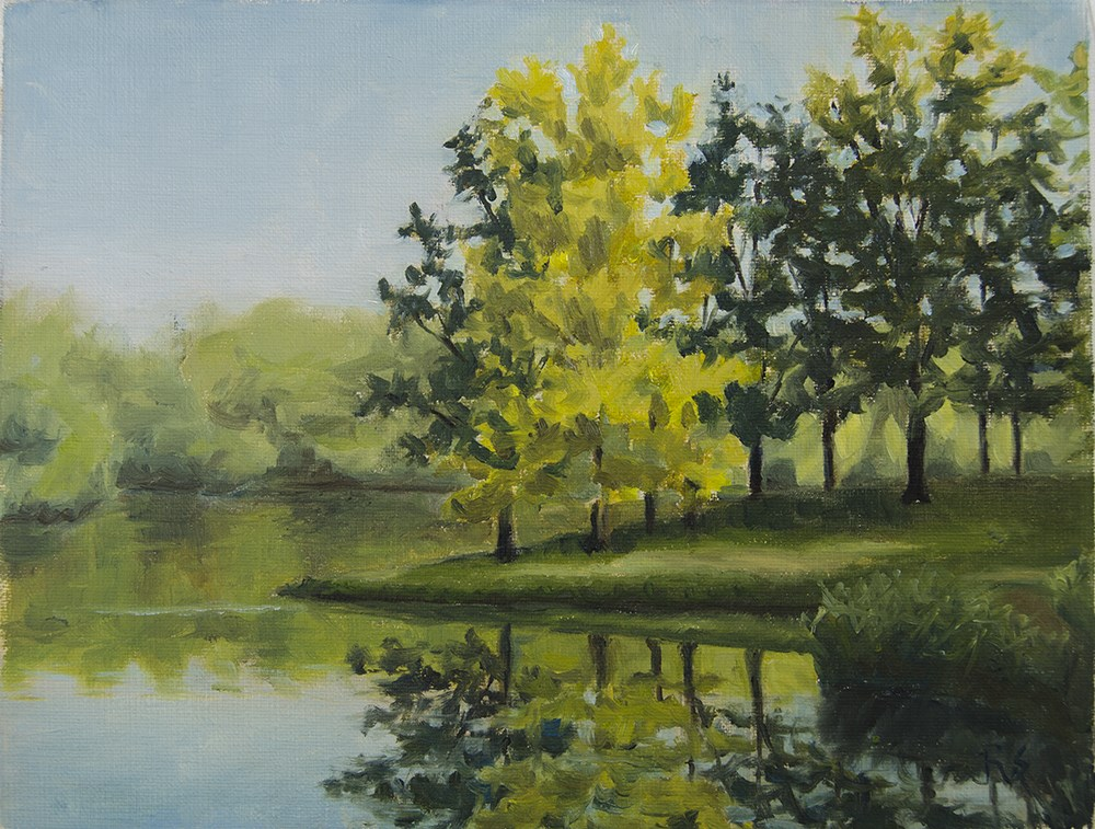 """State Park Lake Reflection"" original fine art by Rachel Steely"