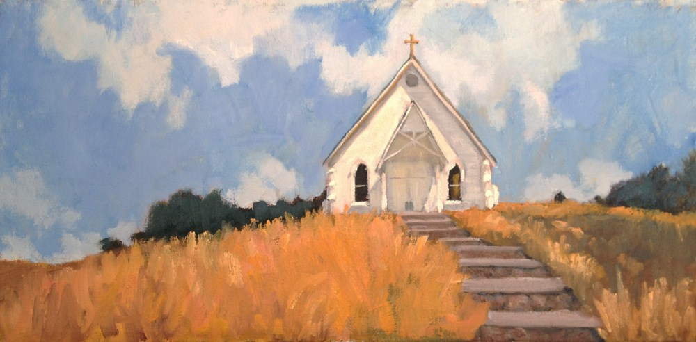 """Old St. Hilary Church in Tiburon, CA"" original fine art by Deborah Newman"