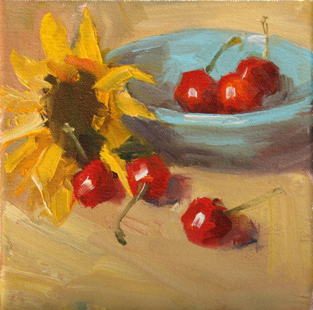 """sunflower and cherries"" original fine art by Carol Carmichael"