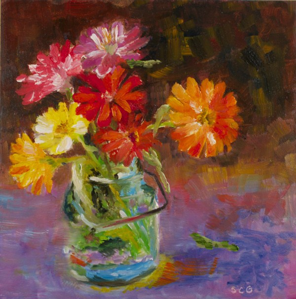"""Zinnia Study #3"" original fine art by Sue Churchgrant"
