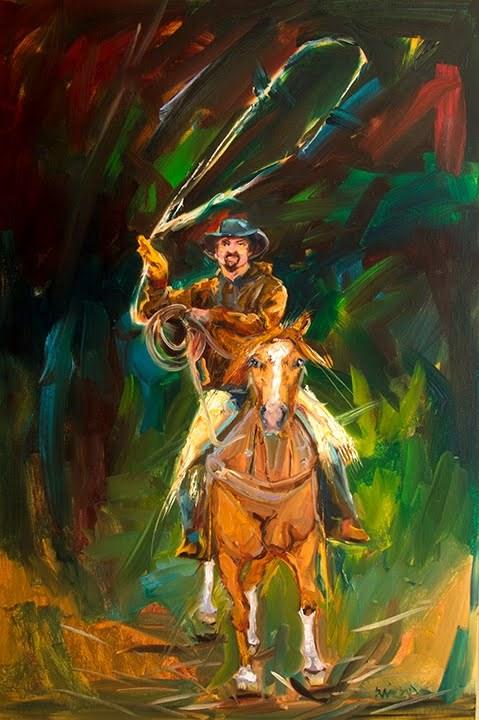 """ARTOUTWEST Diane Whitehead Cowboy Art Oil Painting"" original fine art by Diane Whitehead"