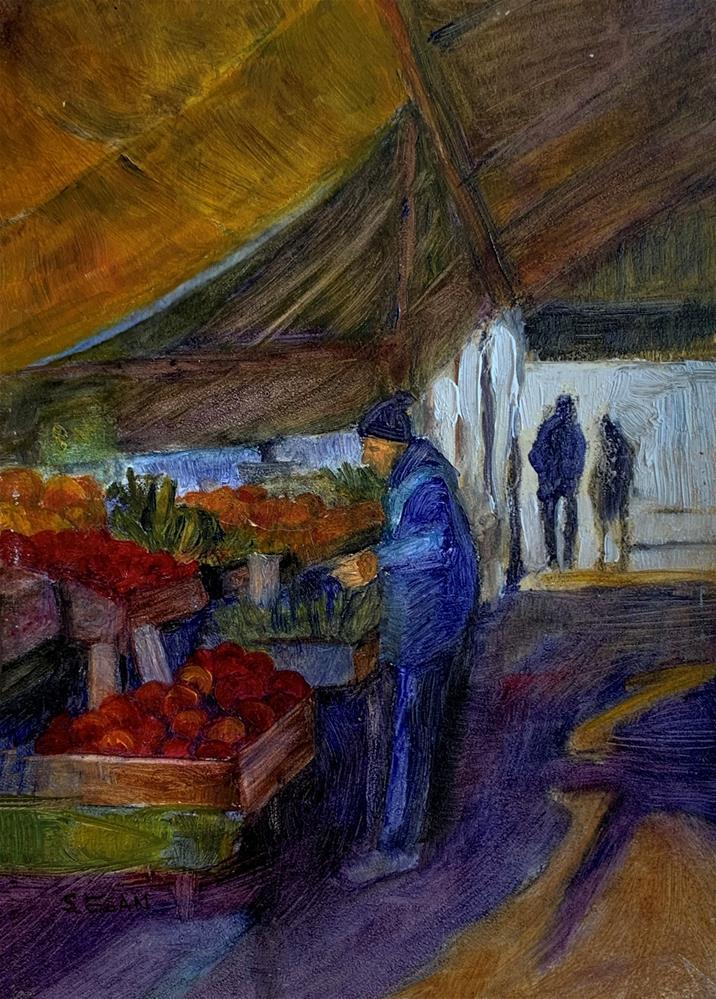 """Under the Awnings, Italian Market"" original fine art by Sharon Egan"