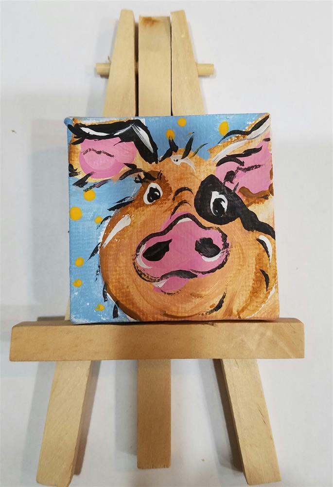 """""""Itty Bitty Pig #648"""" original fine art by Terri Einer"""