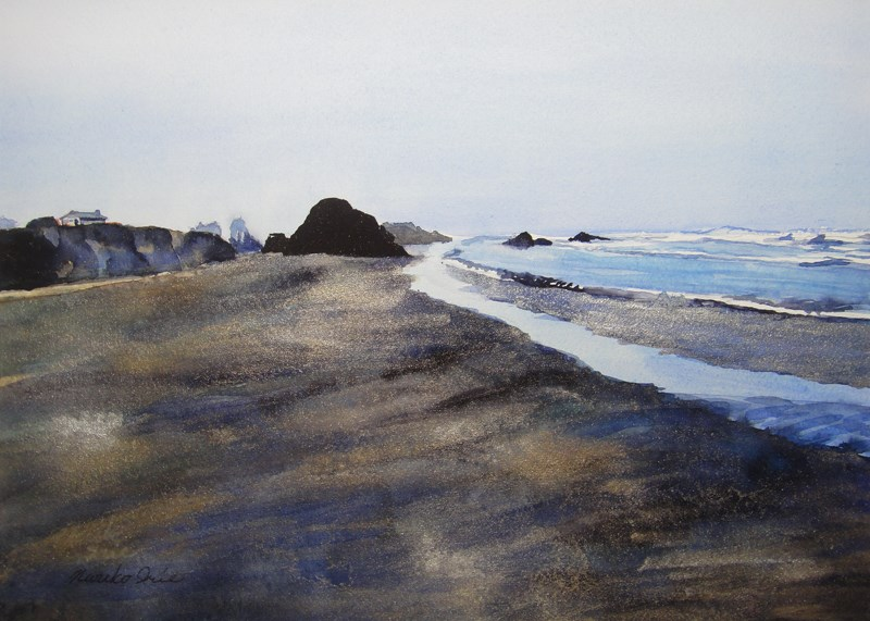"""Seaside Beach in Silver"" original fine art by Mariko Irie"