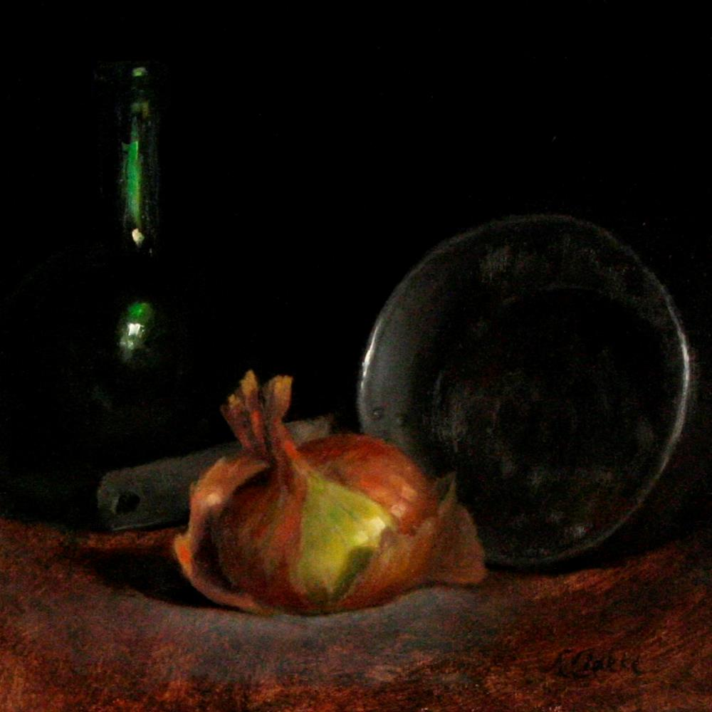 """Still life with Onion, Old Pot and Green Bottle"" original fine art by Natalia Clarke"