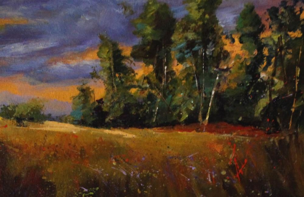 """Original acrylic meadow landscape sunset painting"" original fine art by Alice Harpel"