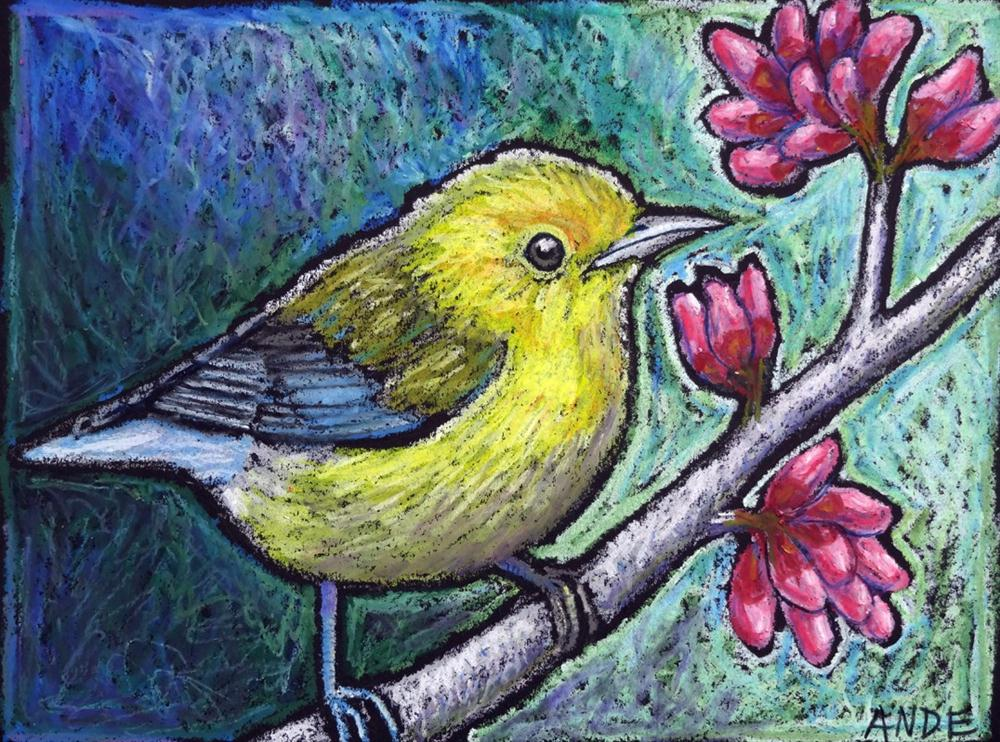 """Warbler on RedBud"" original fine art by Ande Hall"