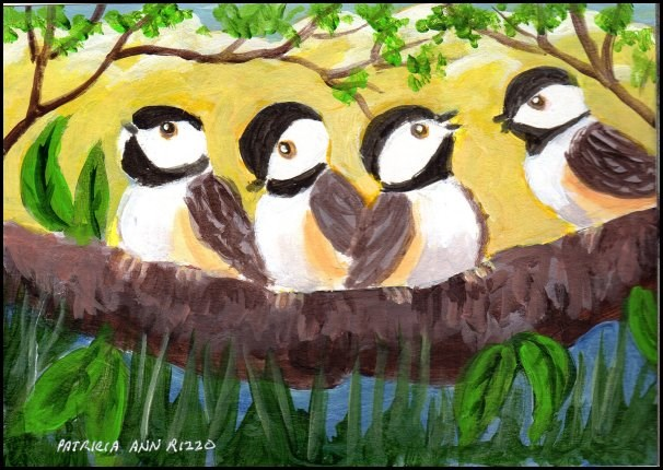 """""""Twittering, Chattering Chickadees"""" original fine art by Patricia Ann Rizzo"""