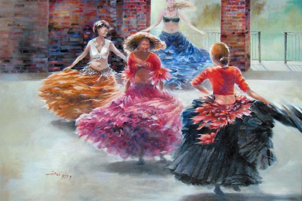 """Dancers"" original fine art by Wenqing Xu"