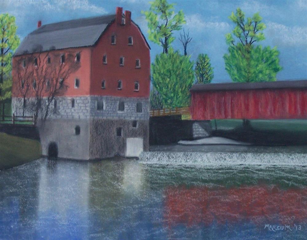 """Bollinger mill and covered Bridge"" original fine art by John Marcum"