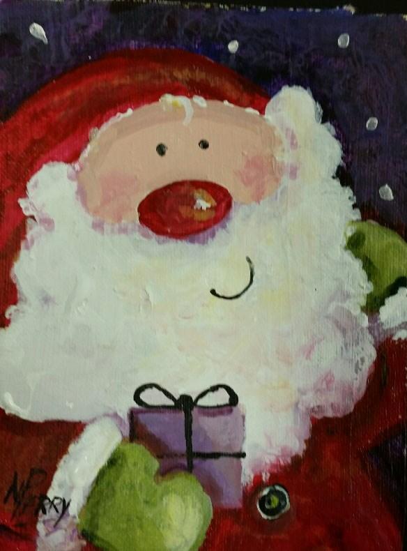 """""""Fun Time Santa 5x7"""" original fine art by Nan Perry"""