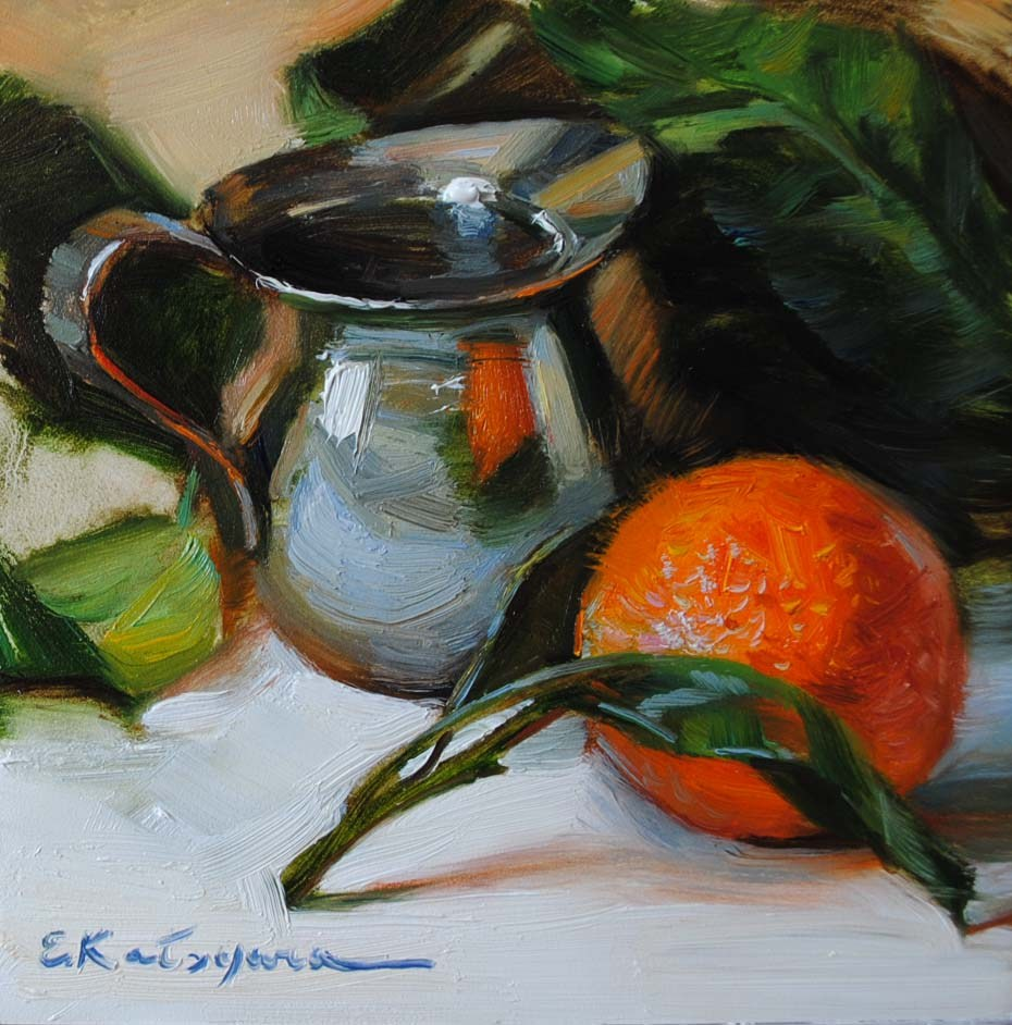 """Mandarin's Reflection"" original fine art by Elena Katsyura"