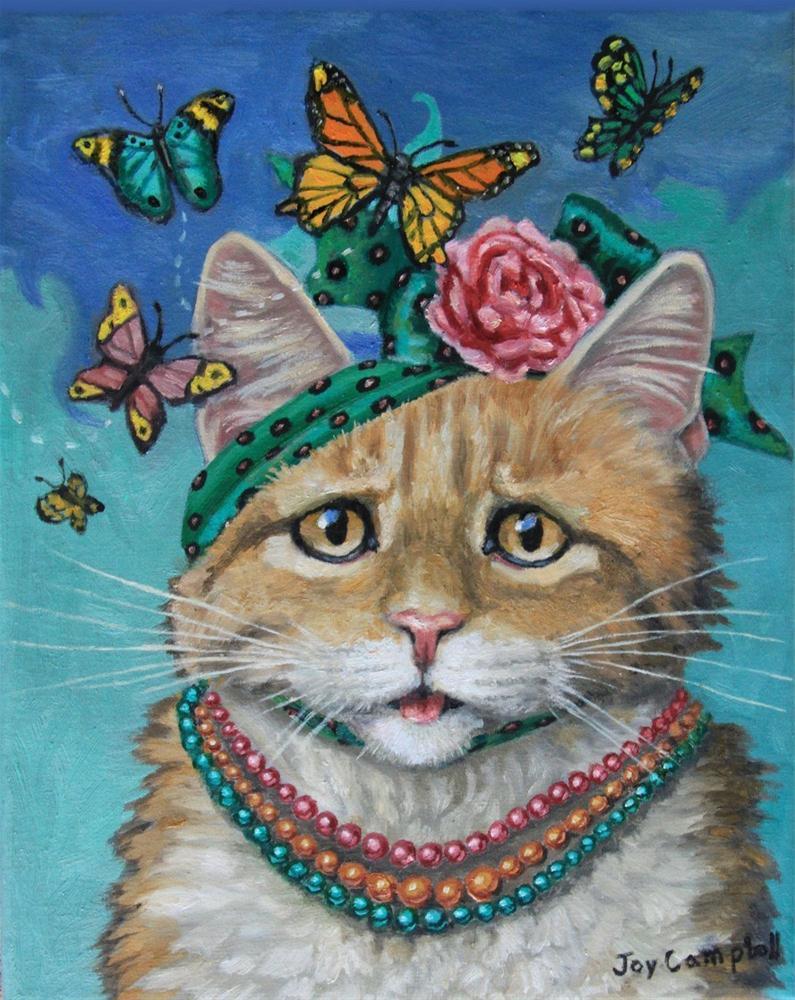 """""""Miss Fluffy, attracting butterflies"""" original fine art by Joy Campbell"""