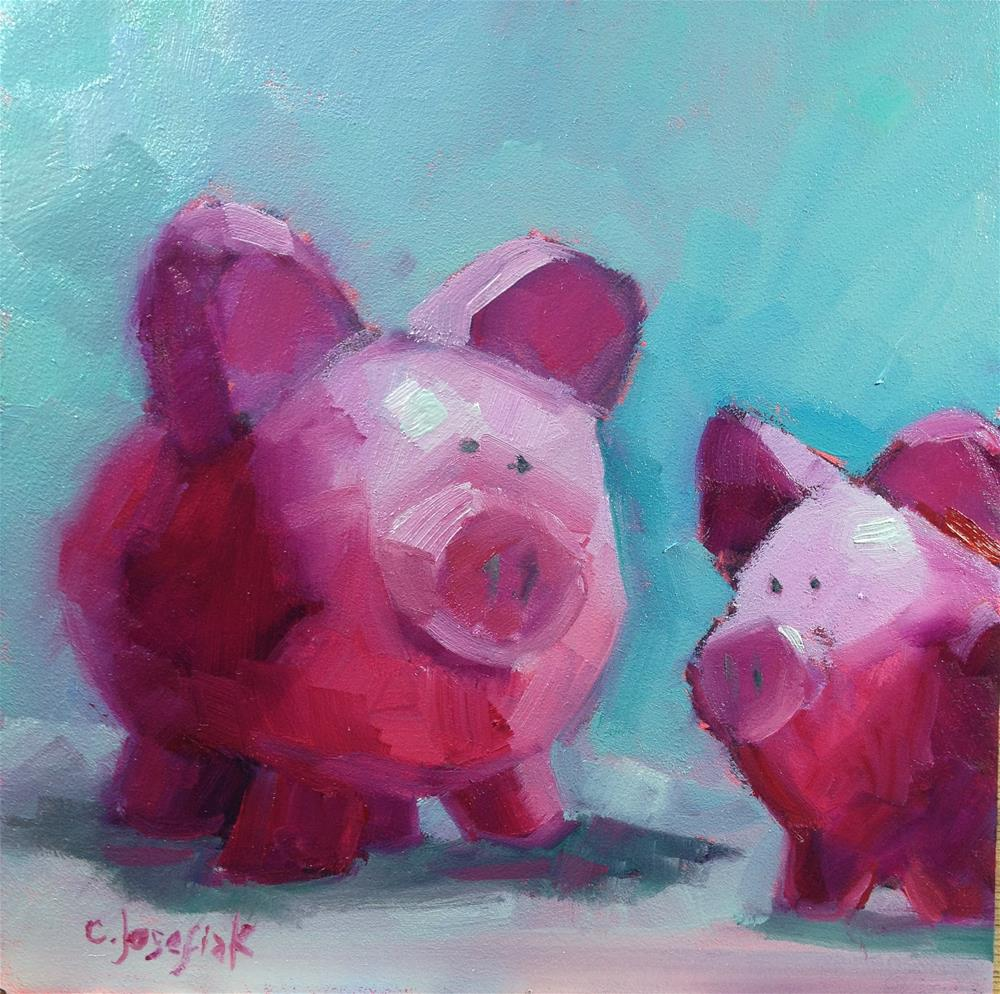 """This little piggy....."" original fine art by Carol Josefiak"