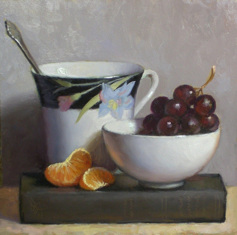 """Cup with Grapes and Orange"" original fine art by Debra Becks Cooper"