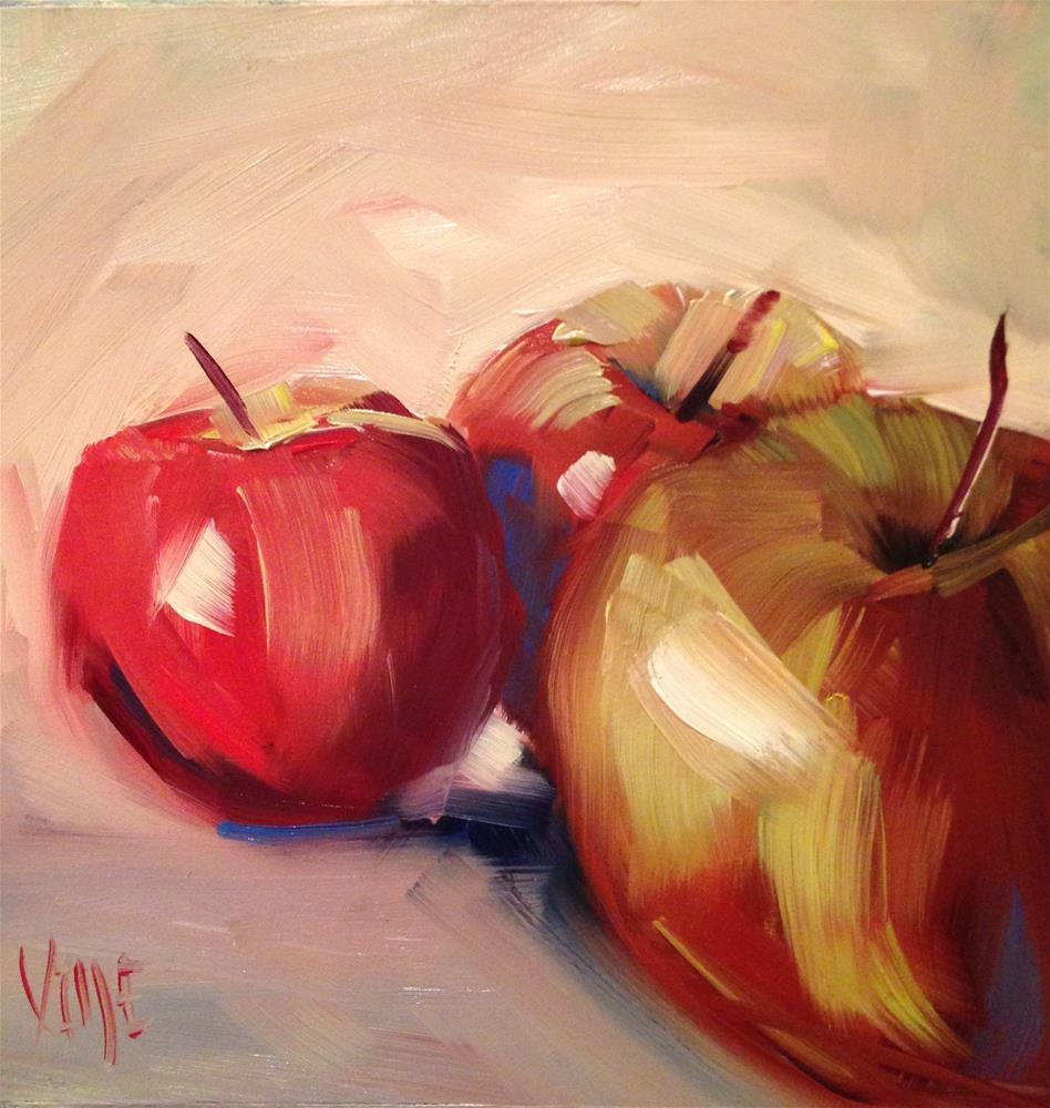 """#182 One Brush Apples"" original fine art by Patty Voje"