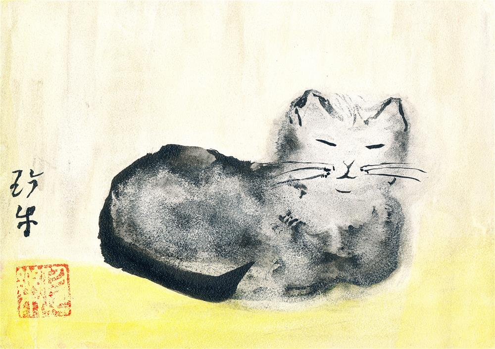 """Nirvana Cat"" original fine art by Janet Gunderson"
