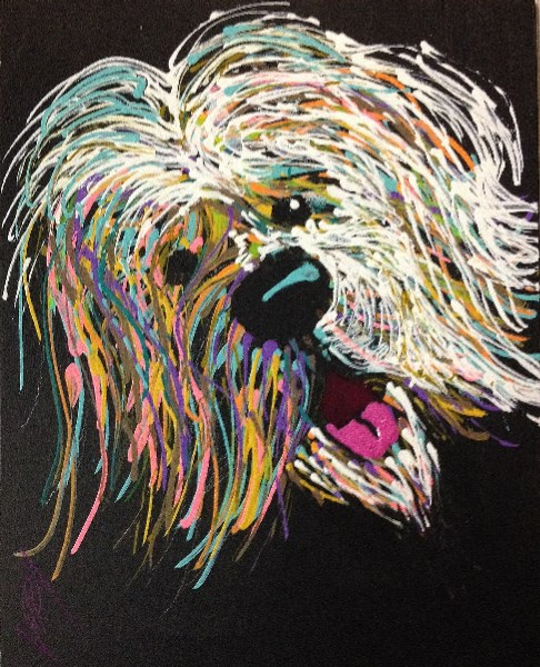 """It's Me.  Velcro Dog."" original fine art by Jeff Leedy"