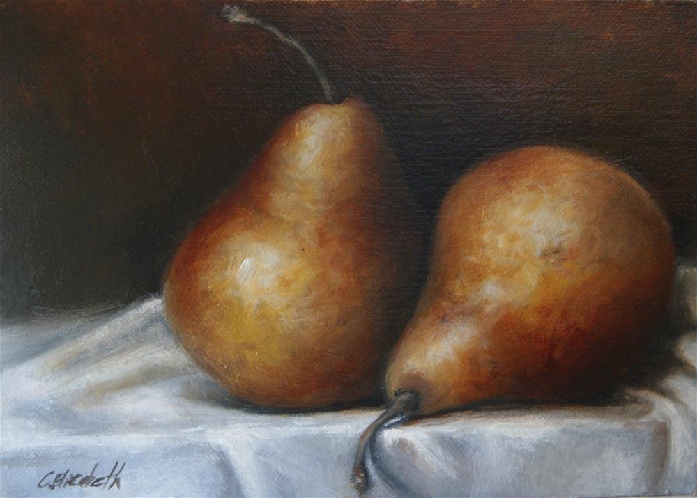 """Pears Still Life"" original fine art by Carolina Elizabeth"