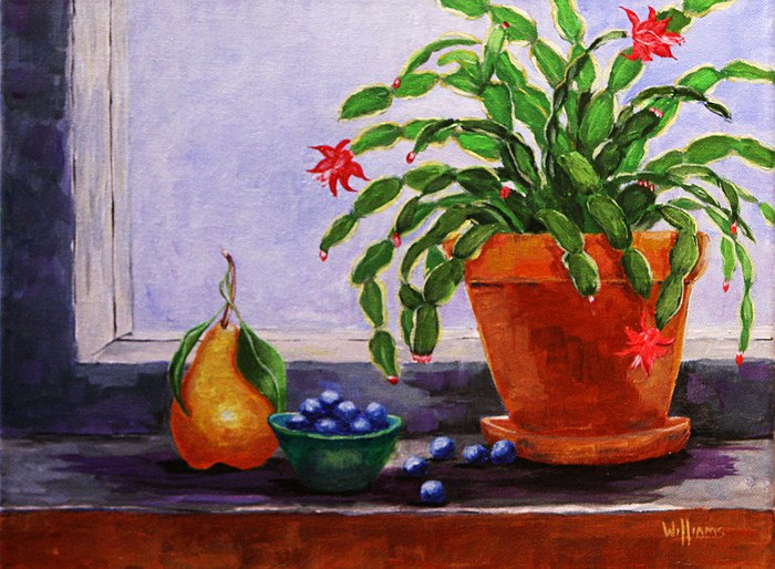 """Christmas Cactus, an original painting by contemporary artist Sunny Williams"" original fine art by Sunny Williams"