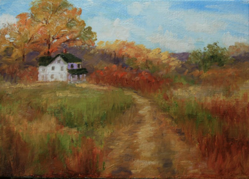 """Autumn Country Road"" original fine art by Jean Nelson"