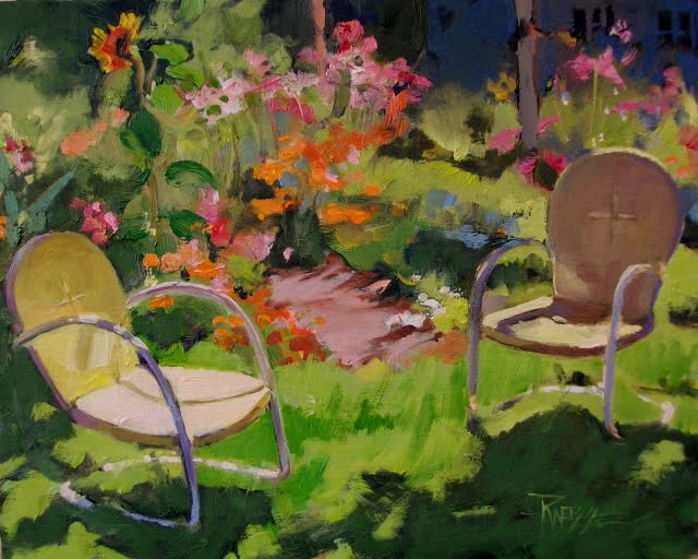"""Garden Chairs  oil, plein air, garden painting."" original fine art by Robin Weiss"